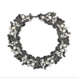 Elegant full gray crystal necklace